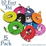 Josi Minea® 5 Pcs Fabric Braided Flat Tangle Free Nylon Premium High Quality Ruggedized Micro USB Rainbow Cables 10 Feet / 3 Meter Charger Sync Data Rapid Charging Cable USB Cord Wire for Samsung Galaxy S3 / S4 / S5 / S2, Samsung Galaxy Note / Note 2 / 3 / 4, Galaxy Tab, Google Nexus 7 / 10, Nokia Lumia, and Most Android Tablets / Android Phones / Windows Phones - 10Ft/3M (5 Pack)