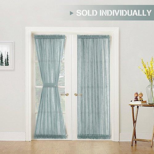Linen Textured French Door Panels Privacy Sheer French Door Curtains 72 inch Length for Glass Door with 1 Tie-back, Blue Haze