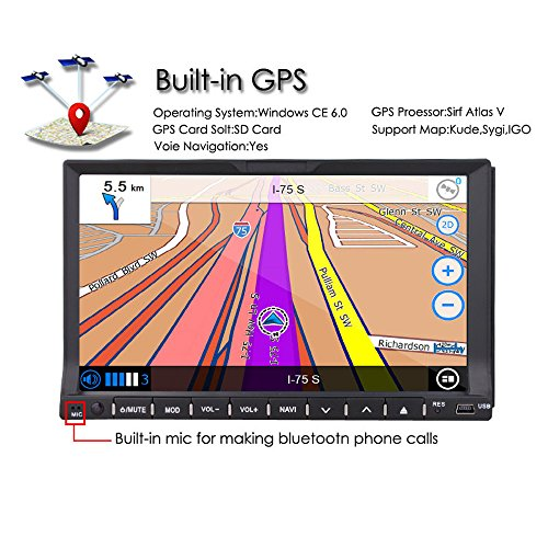 """TOCADO Double Din Car Stereo Camera 7"""" Touchscreen In Dash GPS and MP3,CD,DVD USB/SD MirrorLink Free Camera Map"""