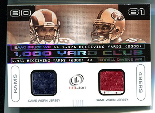 (Terrell Owens Isaac Bruce 2001 Fleer LEGACY 1000 Yard Club Jersey Swatch Trading Card #IB-TO #/400 St Louis Rams San Francisco 49ers )
