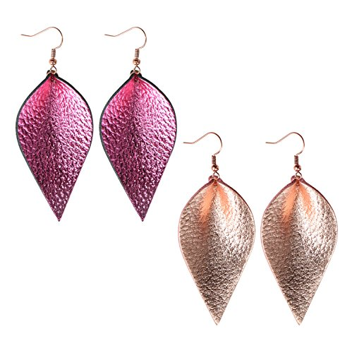 Fuchsia Pink Leather - Me&Hz 2 Pairs Leaf Leather Earrings Rose Gold Fuchsia Hot Pink Genuine Leather Teardrop Earrings Leaf Drop Earrings