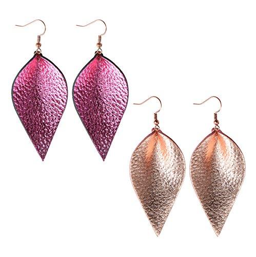 Me&Hz 2 Pairs Leaf Leather Earrings Rose Gold Fuchsia Hot Pink Genuine Leather Teardrop Earrings Leaf Drop Earrings