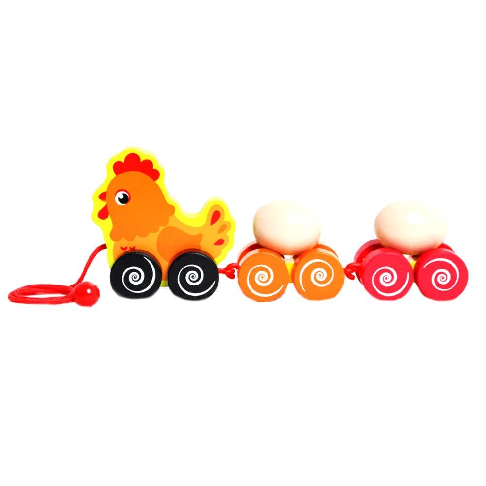 LAANCOO Kinder Nachzieh-Spielzeug Cartoon-Huhn-Anh/änger mit Eiern Holz-Spielzeug f/ür Kleinkind-Walking Training Weg entlang Pull-Spielzeug