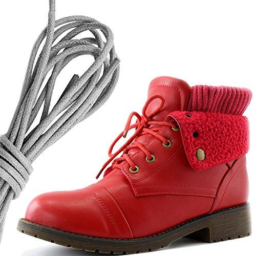 Dailyshoes Da Donna Stile Combattimento Lace Up Maglione Stivaletto Alla Caviglia Con Taschino Per Porta Carte Di Credito Tasca Porta Soldi, Grigio Rosso Pu