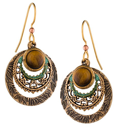 Silver Forest of Vermont Genuine Tiger Eye Filigree Gold-plated Drop Earrings Handcrafted in the USA e-9957