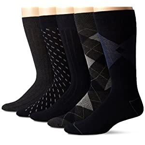 Dockers Men's 5 Pack Classics Dress Argyle Crew Socks, Navy, Sock Size:10-13/Shoe Size: 6-12