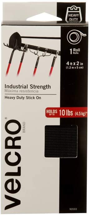 Tape Indoor /& Outdoor Use Industrial Strength Size 15ft x 2in Heavy Duty Black Pack of 1 VELCRO Brand Superior Holding Power on Smooth Surfaces