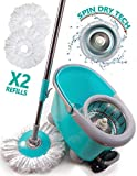 Shoof Spin Mop & Bucket Floor Cleaning System Industrial & Home Cleaning Supplies – 360° Stainless Steel Spin Mop Pole
