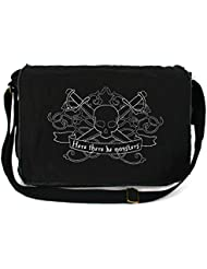 Dancing Participle Here There Be Monsters Embroidered Black Messenger Bag