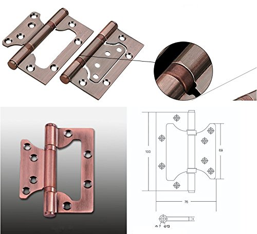 RZDEAL A Pair SU304G 5.25 inch Non-Mortise Bi-Fold Door Mute Balls Hinge Stainless Steel; Red Ancient Bronze by RZDEAL (Image #3)