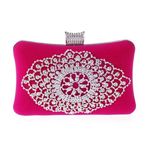 bag European Bag American Clutch Evening Fashion Fly Hard Banquet Bag Pink evening Rhinestone Bag Velvet Luxury Exquisite Shell adgv6Wq