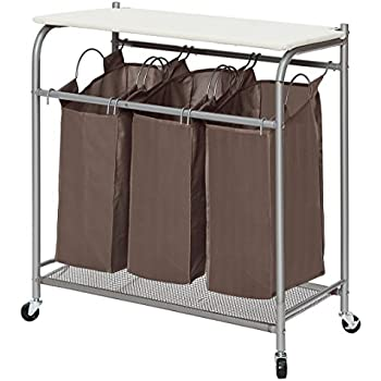 StorageManiac 3 Lift Off Bags Laundry Sorter With Foldable Ironing Board,  Multifunctional Laundry Cart