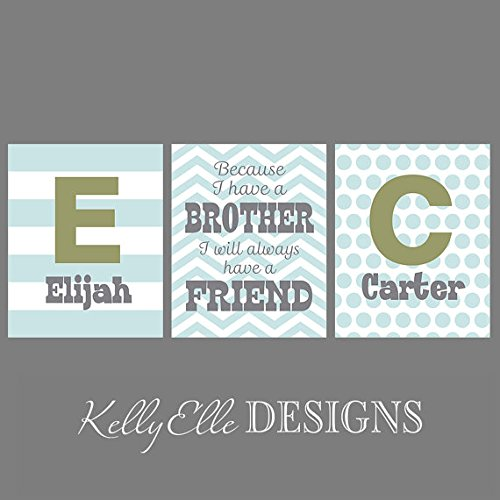 Amazon.com: Brothers Wall Art Prints - two initial/name prints and a ...