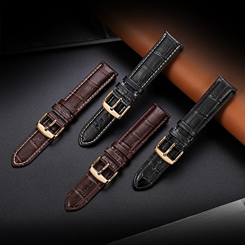 iStrap 20mm Calfskin Replacement Watch Band With Rose Gold Pin Buckle for Men Women - Brown by iStrap (Image #5)
