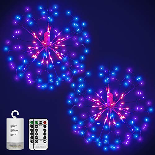 Digitblue Hanging Starburst Light 2 Pack Outdoor String Lights, Waterproof 3 Heads with 198 Led Micro Lights, Holiday Mood Light 8 Modes Christmas Twinkle Lights Festival Decoration (Blue White)