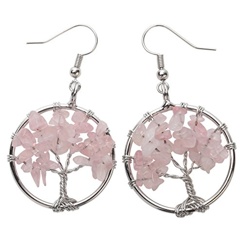 (YACQ Natural Gemstone Tree Dangle Drop Earrings Handcrafted Jewelry for Women (rose-quartz))