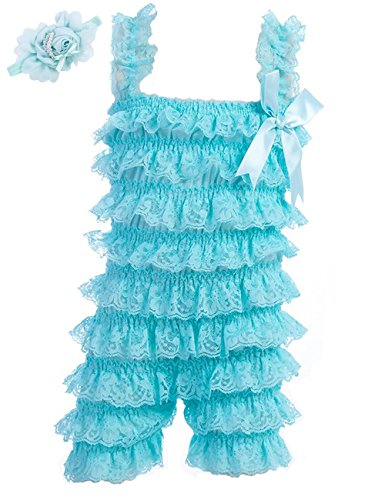 Baby Girls Bowknot Lace Folds Romper and Headband (M(6-12month), Light Blue) ()