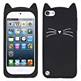 for iPod Touch 6 Case, iPod Touch 5 Case, 3D Cute Cartoon Mustache Cat Case, Animal Series Soft Silicone Bumper Shockproof Back Cover Shell for iPod Touch 6th / 5th Generation (Mustache Cat Black)