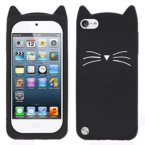 (for iPod Touch 6 Case, iPod Touch 5 Case, 3D Cute Cartoon Mustache Cat Case, Animal Series Soft Silicone Bumper Shockproof Back Cover Shell for iPod Touch 6th / 5th Generation (Mustache Cat Black))
