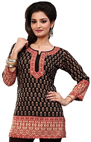 Indian Tunic Top Womens Kurti Printed Blouse Kurta India Clothes – S…Bust 34 inches, Black 2