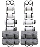 DecoBros 2 Pack Wall Mount Multi-Purpose Towel / Wine / Hat Rack,Bronze