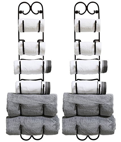 DecoBros 2 Pack Wall Mount Multi-Purpose Towel / Wine / Hat Rack,Bronze by Deco Brothers