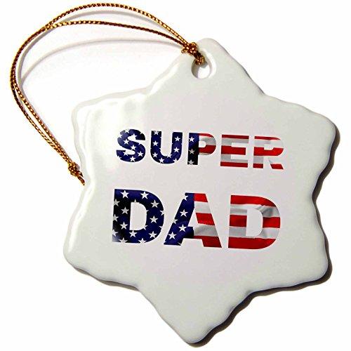 Family Design Super Dad on White Background Snowflake Ornament, 3