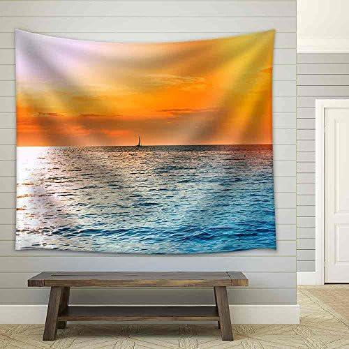 Sunset on Open Sea Beautiful Sunset at Dusk Fabric Wall