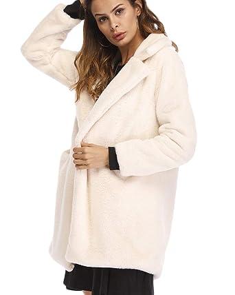 Quge Mujer Abrigo De Pelo Chaqueta Invierno Abrigo De Piel Sintética Chaqueta La Solapa Fur Jacket Beige 4XL: Amazon.es: Ropa y accesorios