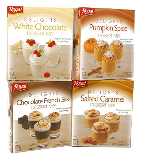 Chocolate White Mousse - Variety Pack - Royal Dessert Mix Mousse/Pie Filling - White Chocolate (3.57 oz), Pumpkin Spice (3.53 oz), Salted Caramel (3.54 oz), Chocolate French Silk (3.87 oz)