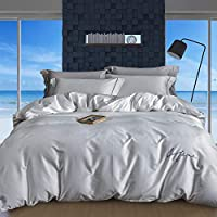 Yimi Satin Duvet Cover Set, Cotton Bedding Sets Ultra Soft Cool Breathable Comfort Luxury Smooth Silky, 1 Quilt Cover + 1...