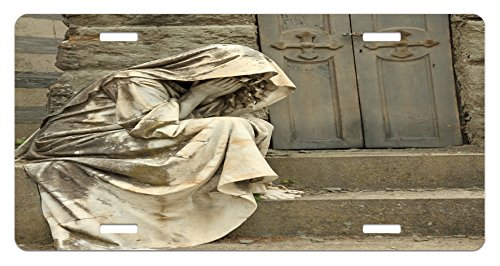 Lunarable Retro License Plate, Grief Tombstone on Monumental Cemetery in Florence Italy Europe Landmark, High Gloss Aluminum Novelty Plate, 5.88