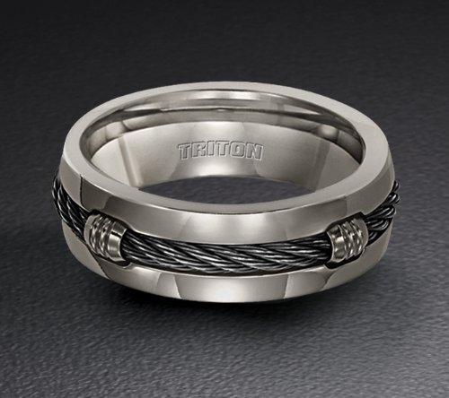 Amazon Titanium Wedding Ring With Nitinol Cable Inlay 11 2062T Jewelry