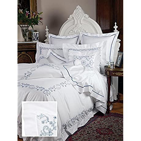 Marley Luxury Bedding Sheet Sets King 100 Egyptian Cotton Sateen 1 Flat 1 Fitted 2 Std Shams Navy