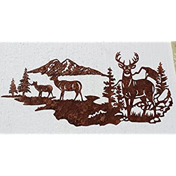 Buck With Does, Deer Mountain Scene Metal Wall Art Country Rustic Decor Part 67