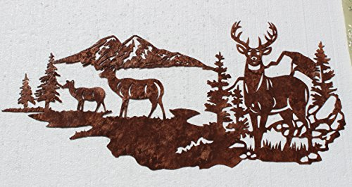 UPC 091131103920, Buck with Does, Deer Mountain Scene Metal Wall Art Country Rustic Decor