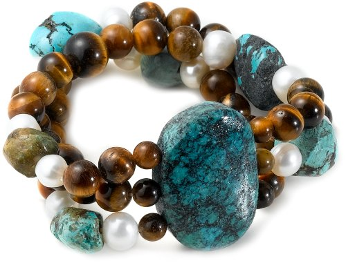3-Row Turquoise, Tiger Eye and White Freshwater Cultured Pearl Stretch Bracelet