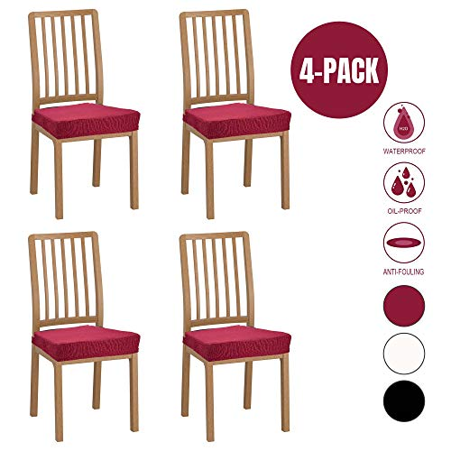 Wannafree Dining Room Chair Seat Covers – 4 Pack Spandex Stretch Desk Chair Covers for Dining Room – Premium Jacquard Office Computer Chair Seat Protectors Chair Slipcovers – Red