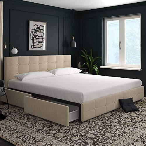 DHP 4346149 Rose Storage, Ivory Velvet-King Upholstered Bed