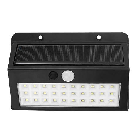 Ahomi Lámpara de jardín exterior 30 LED solar PIR sensor de movimiento impermeable luz de pared
