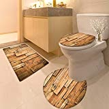 HuaWuhome 3 Piece Extended Bath mat Set Wood Plank Hard Wood Widen