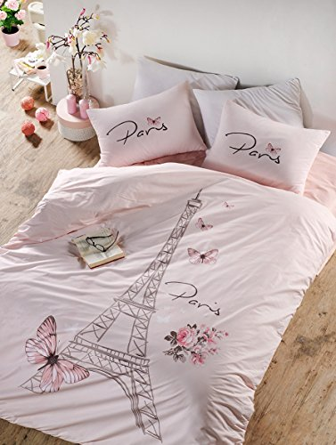 Bekata Dejavu, 100% Cotton Paris Bedding Set for Girls, Eiffel Tower Themed Single/Twin Size Quilt/Duvet Cover Set with Fitted Sheet, Salmon Pink, (3 PCS) Comforter NOT Included