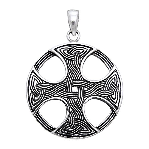 Sterling Silver Round Celtic Sun Knot Cross Pendant - Sun Cross