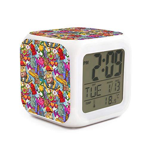 kanidjkd Wake Up Crazy New York Colored Pattern Dimmer Snooze LED Nightlight Bedroom Desk Travel Digital Cool Alarm Clock for Kids Girls