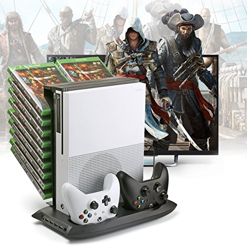 TNTi™ Power Tower - Xbox One S Vertical Stand, Intercooler with Controller Charging Dock and 18 XB1 Game Blue-ray disc storage (Blueray Dvd With Amazon Prime)