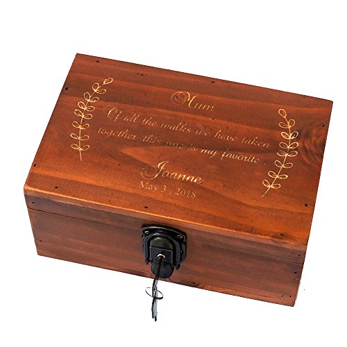 Awerise Personalized Wooden Keepsake Box w/Lock Key, Custom Jewelry Box, Bridesmaid Box, Mother Girlfriend Gift ()