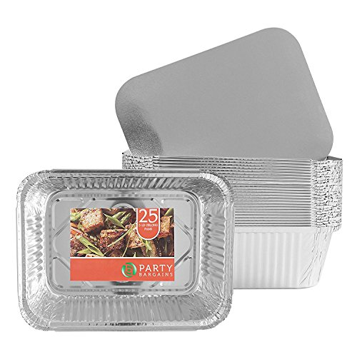 Party Bargains Premium Quality Durable, 9 X 7 Aluminum Foil Pans 5 Lb Capacity With Board Lids (25 COUNT)