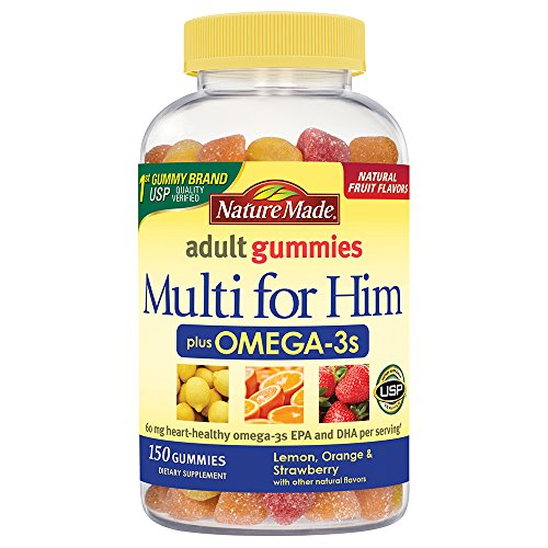 Nature Made Multi for Him + Omega-3 Adult Gummies w. 60 mg of EPA and DHA Omega-3 150 Ct
