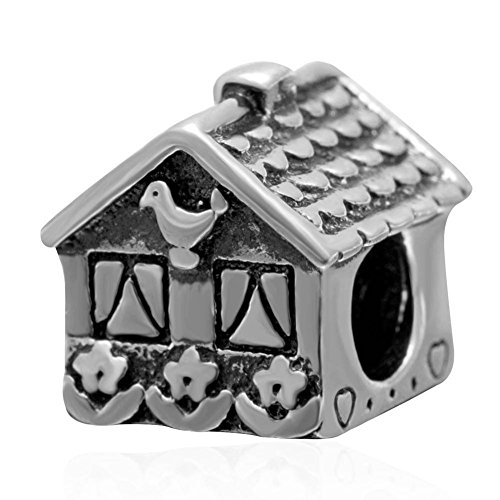 Home Sweet Home Charm - Antique 925 Sterling Silver Bead - European Bracelet Jewelry