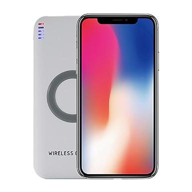 Para iphone X portátil cargador inalámbrico, Y56 externo portátil USB Power Bank 8000 mAh y cargador inalámbrico 2 en 1 para iPhone X, 73% eficiencia ...